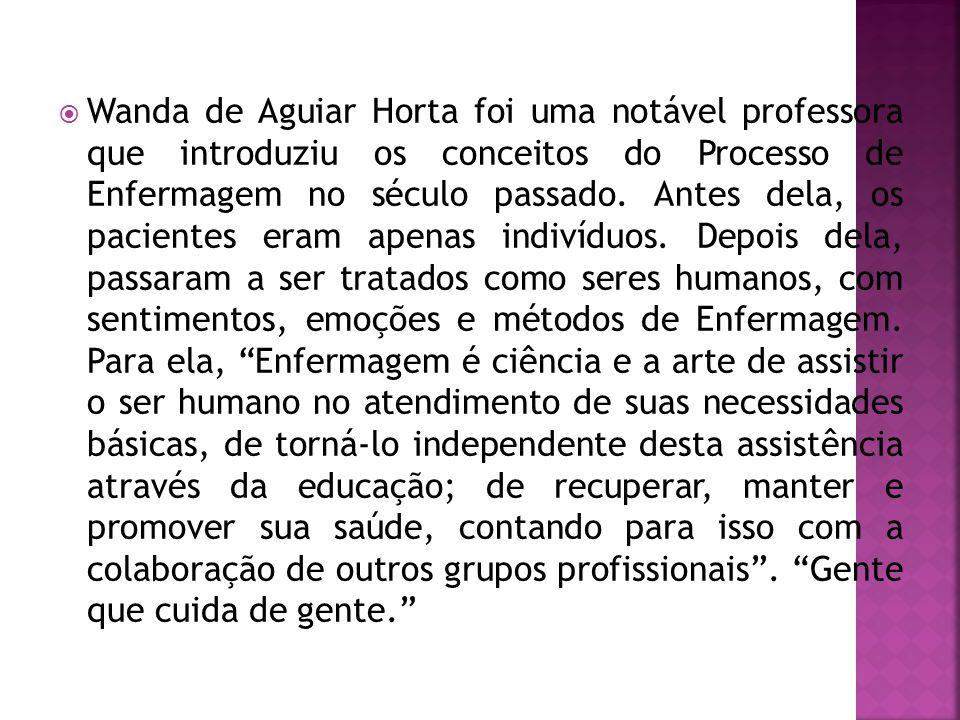 Wanda de Aguiar Horta foi uma notável professora que introduziu os conceitos do Processo de Enfermagem no século passado. Antes dela, os pacientes eram apenas indivíduos.