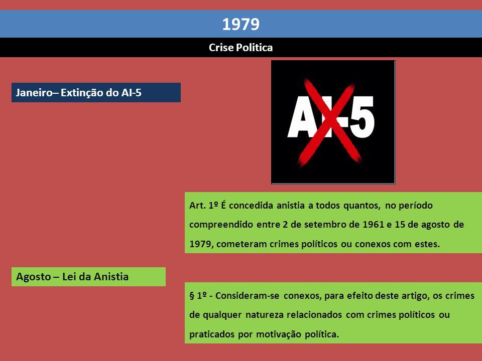 1979 Crise Politica Janeiro– Extinção do AI-5 Agosto – Lei da Anistia
