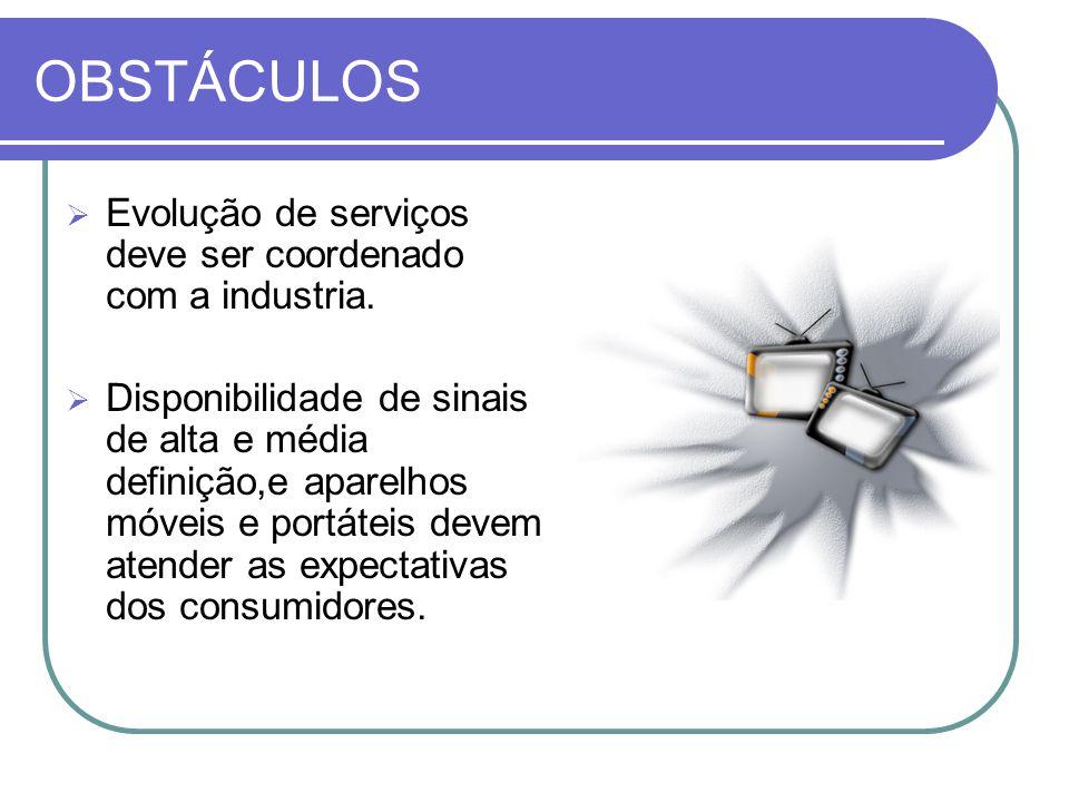 OBSTÁCULOS Evolução de serviços deve ser coordenado com a industria.