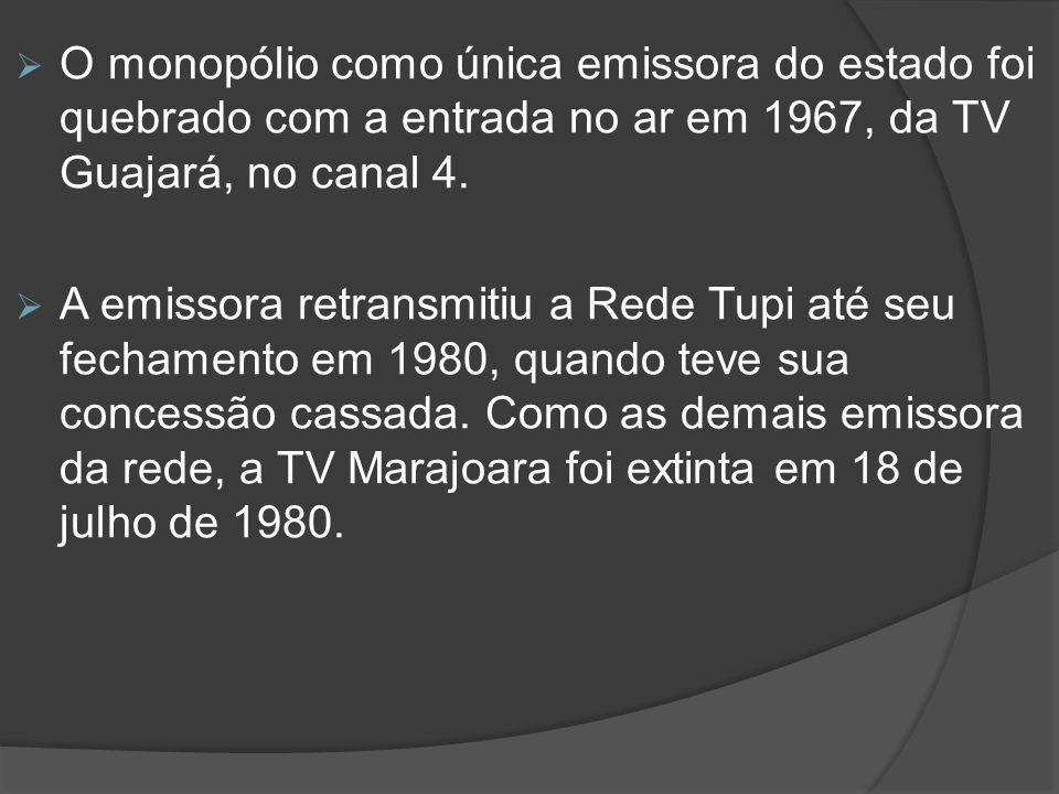 O monopólio como única emissora do estado foi quebrado com a entrada no ar em 1967, da TV Guajará, no canal 4.