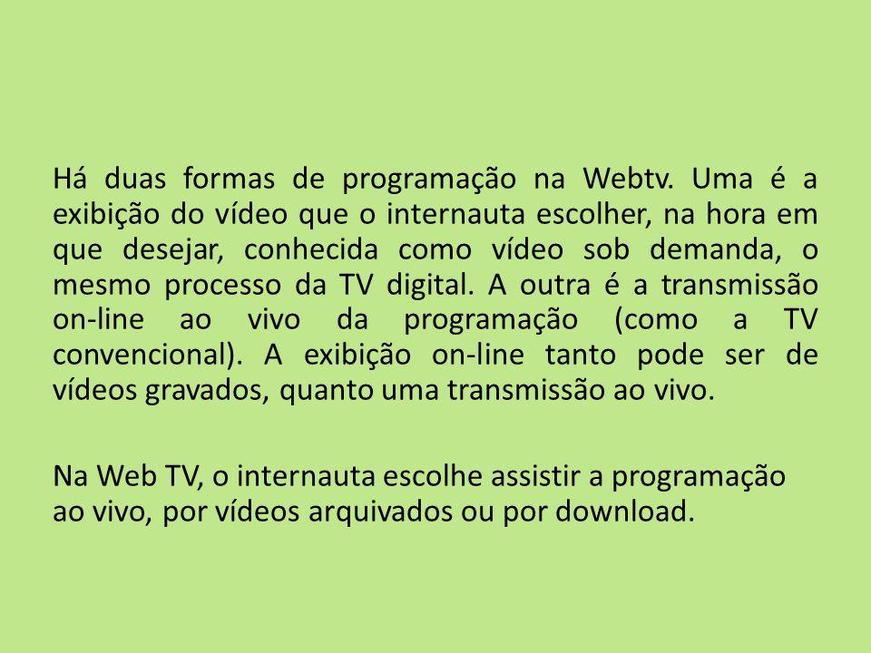 Há duas formas de programação na Webtv