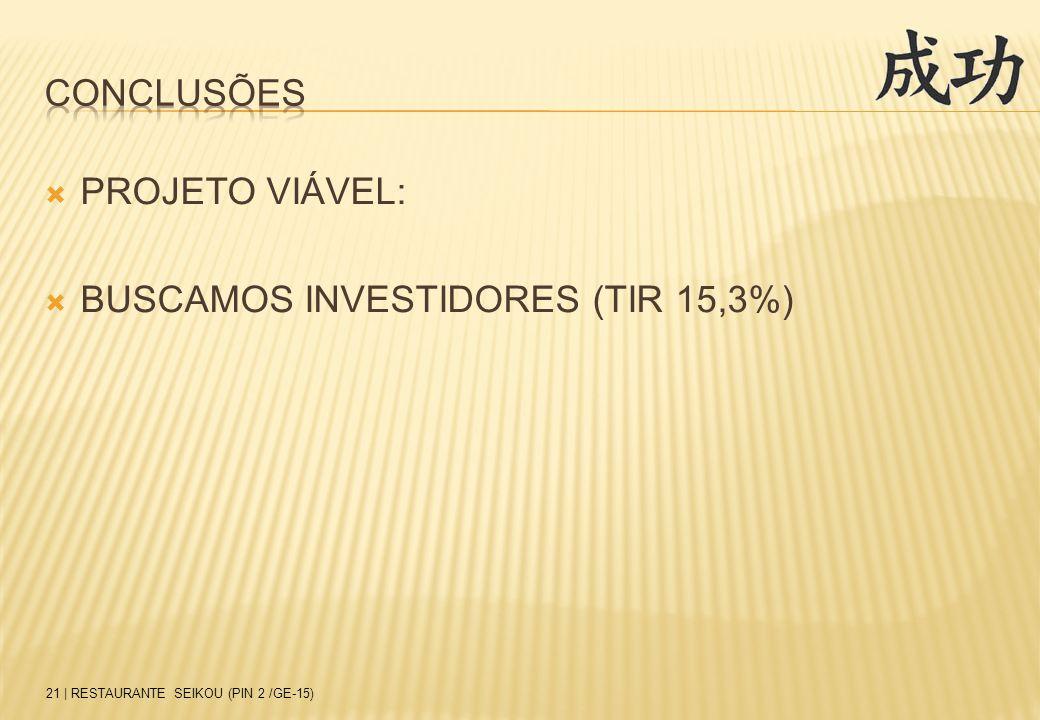 CONCLUSÕES PROJETO VIÁVEL: BUSCAMOS INVESTIDORES (TIR 15,3%)