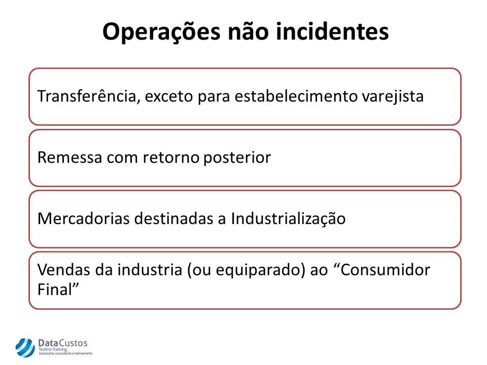 Operações não incidentes