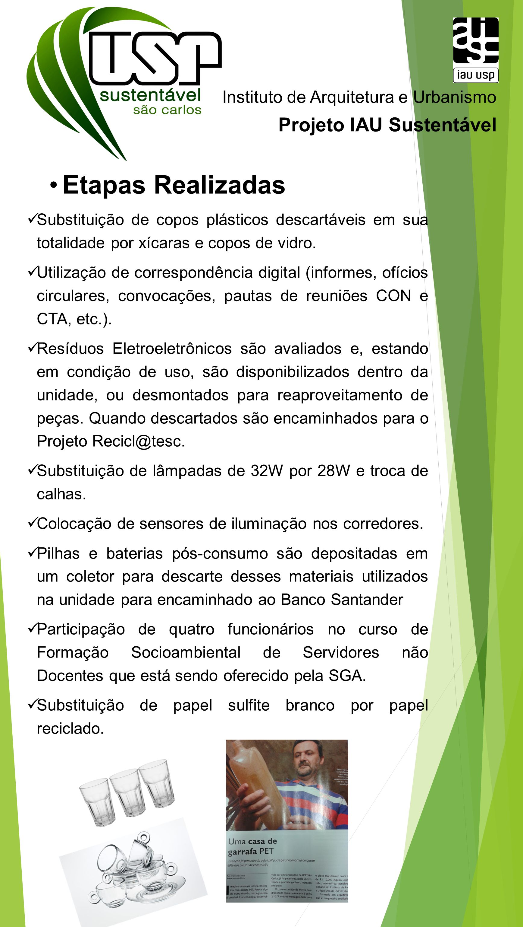 Etapas Realizadas Projeto IAU Sustentável