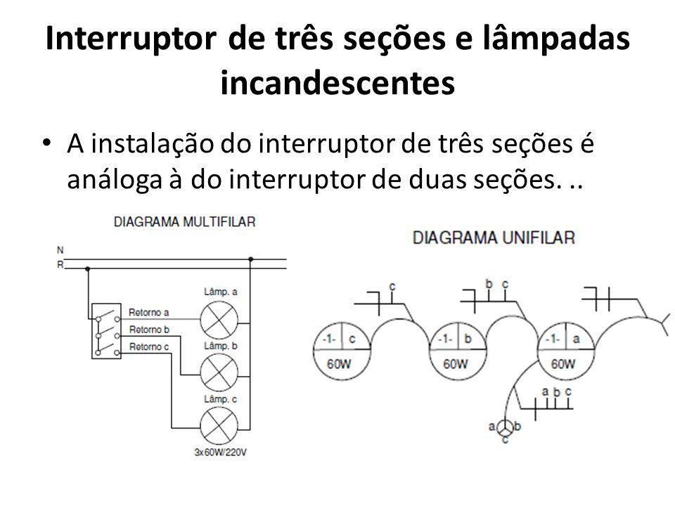 Interruptor de três seções e lâmpadas incandescentes