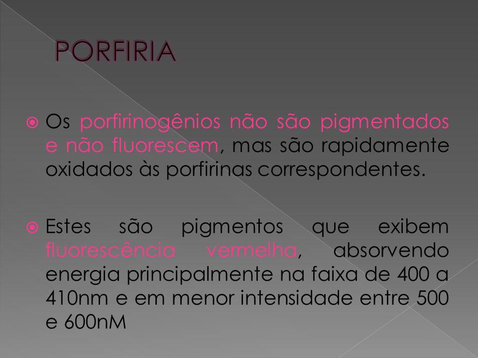 PORFIRIA Os porfirinogênios não são pigmentados e não fluorescem, mas são rapidamente oxidados às porfirinas correspondentes.
