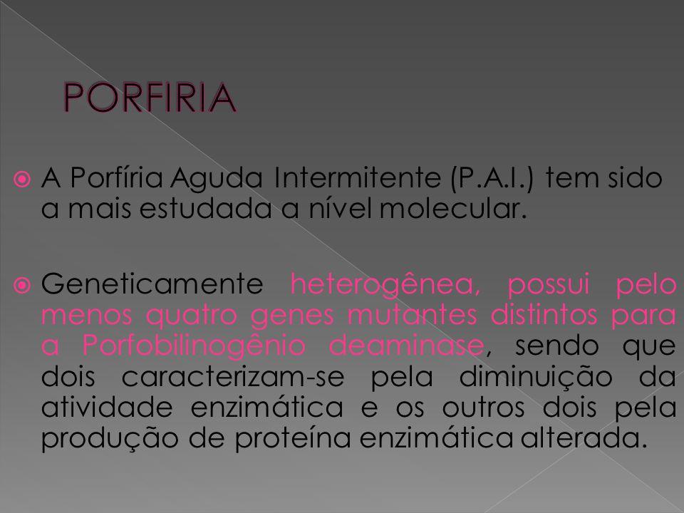 PORFIRIA A Porfíria Aguda Intermitente (P.A.I.) tem sido a mais estudada a nível molecular.