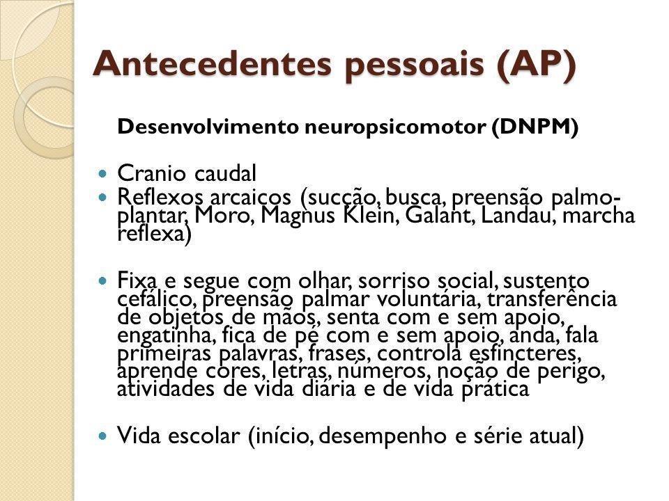 Antecedentes pessoais (AP)