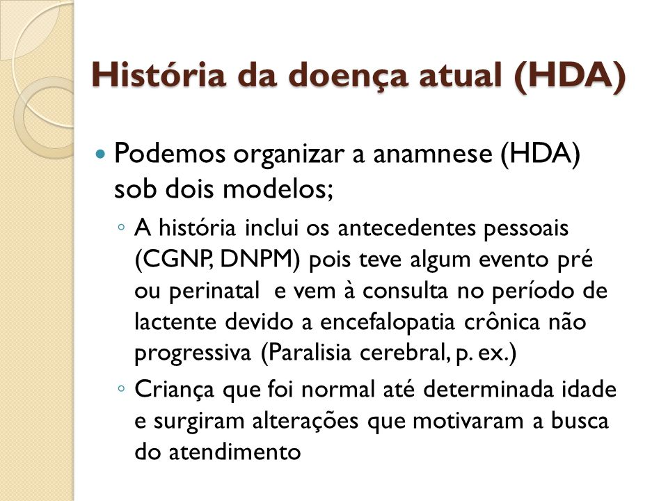 História da doença atual (HDA)