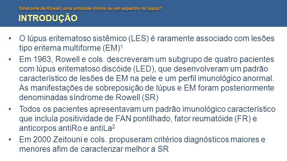 INTRODUÇÃO O lúpus eritematoso sistêmico (LES) é raramente associado com lesões tipo eritema multiforme (EM)1.