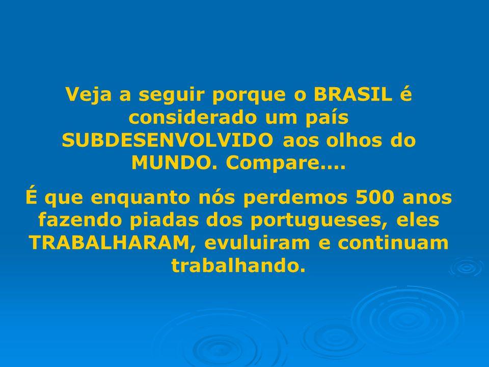 Veja a seguir porque o BRASIL é considerado um país SUBDESENVOLVIDO aos olhos do MUNDO. Compare....