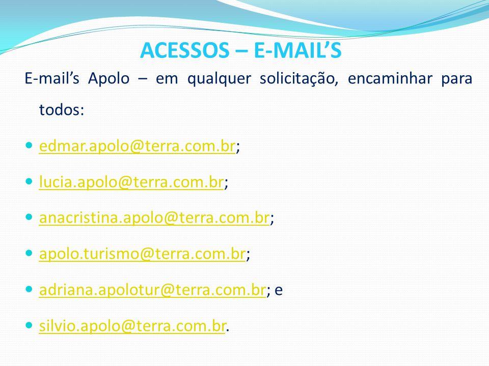 ACESSOS – E-MAIL'S E-mail's Apolo – em qualquer solicitação, encaminhar para todos: edmar.apolo@terra.com.br;