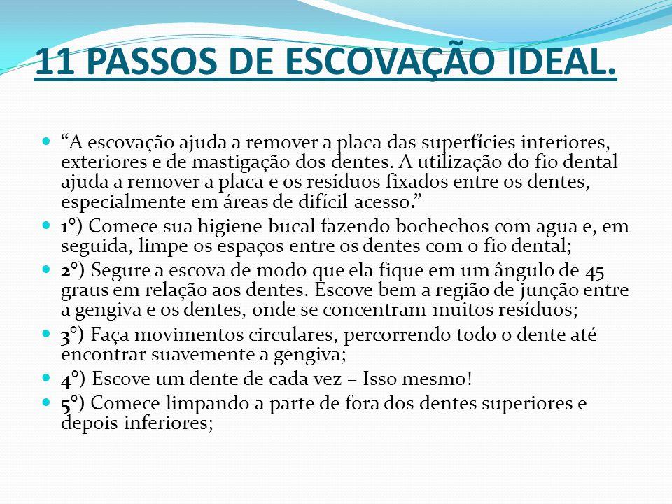 11 PASSOS DE ESCOVAÇÃO IDEAL.