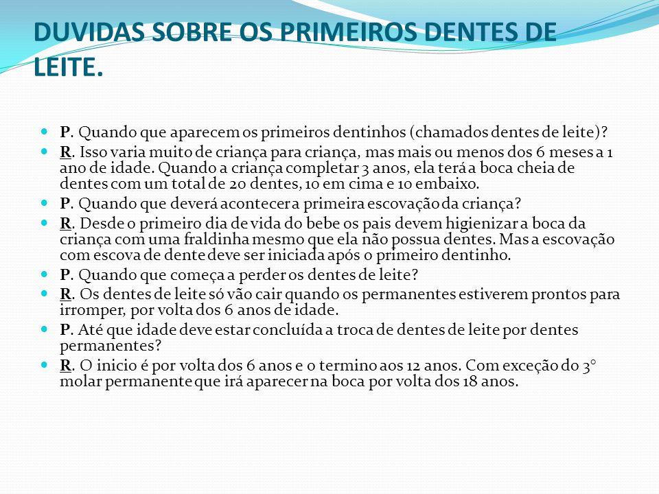 DUVIDAS SOBRE OS PRIMEIROS DENTES DE LEITE.