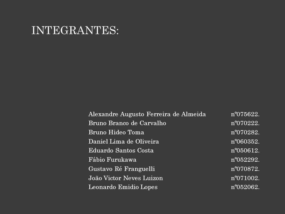 INTEGRANTES: Alexandre Augusto Ferreira de Almeida nº075622.