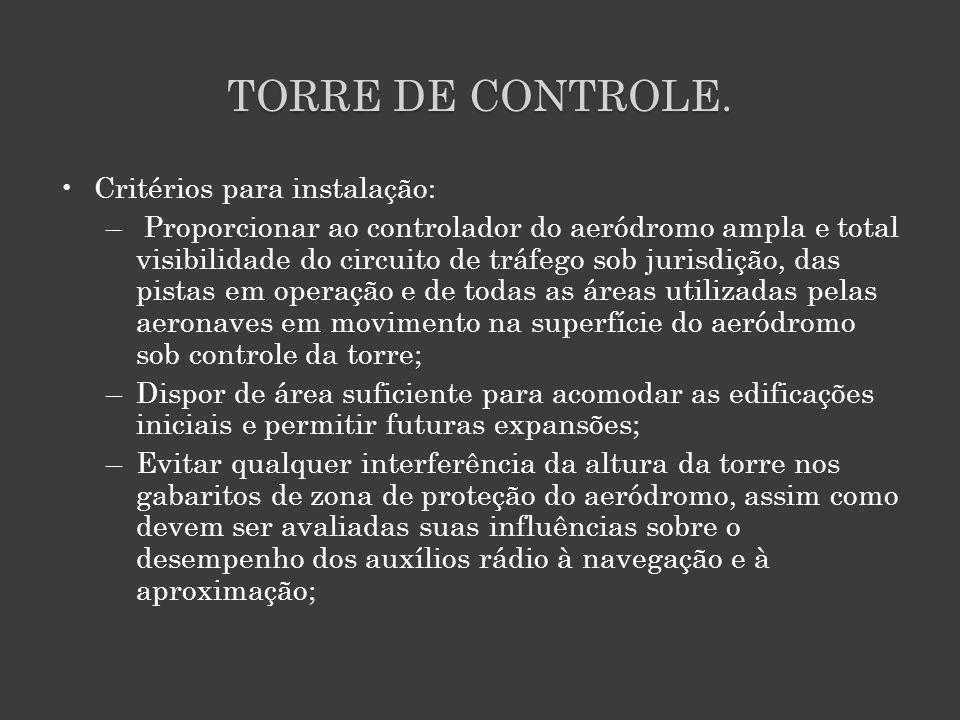 TORRE DE CONTROLE. Critérios para instalação: