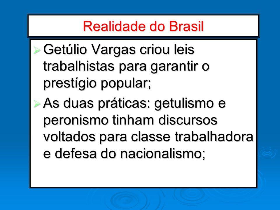 Realidade do Brasil Getúlio Vargas criou leis trabalhistas para garantir o prestígio popular;