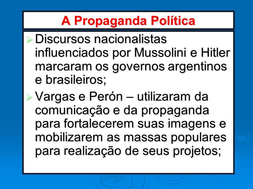 A Propaganda Política Discursos nacionalistas influenciados por Mussolini e Hitler marcaram os governos argentinos e brasileiros;