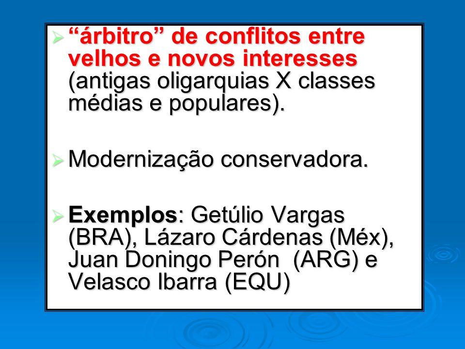 árbitro de conflitos entre velhos e novos interesses (antigas oligarquias X classes médias e populares).