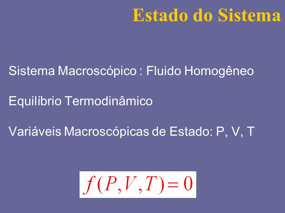 Estado do Sistema Sistema Macroscópico : Fluido Homogêneo