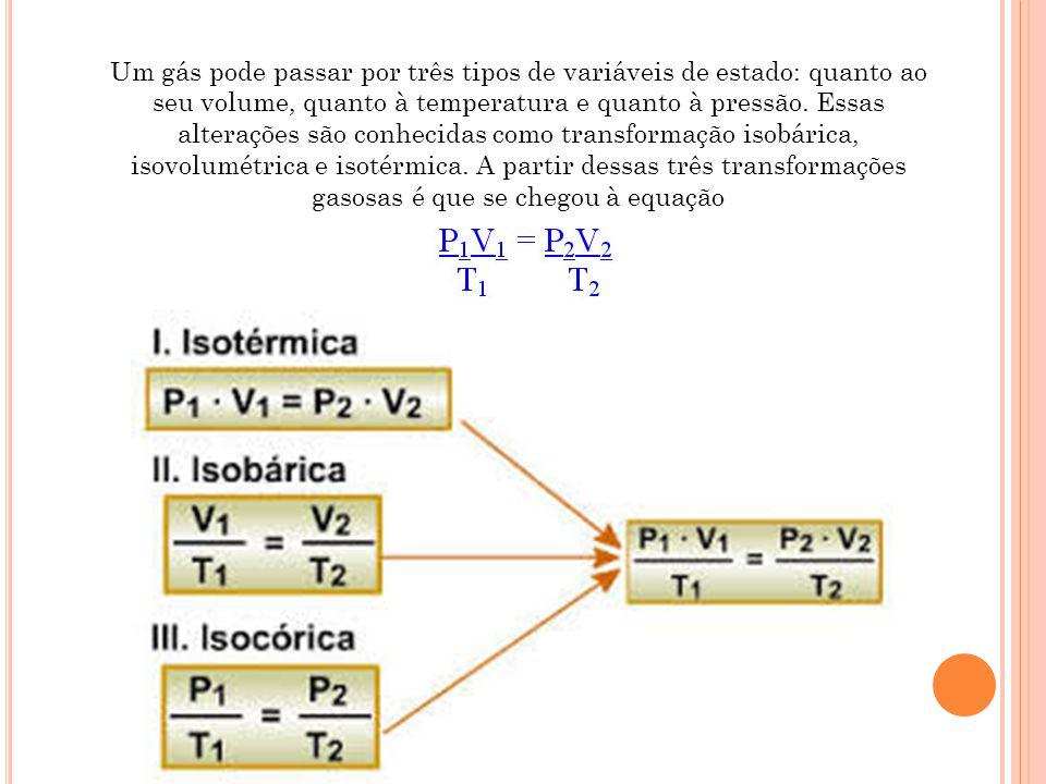 Um gás pode passar por três tipos de variáveis de estado: quanto ao seu volume, quanto à temperatura e quanto à pressão. Essas alterações são conhecidas como transformação isobárica, isovolumétrica e isotérmica. A partir dessas três transformações gasosas é que se chegou à equação: