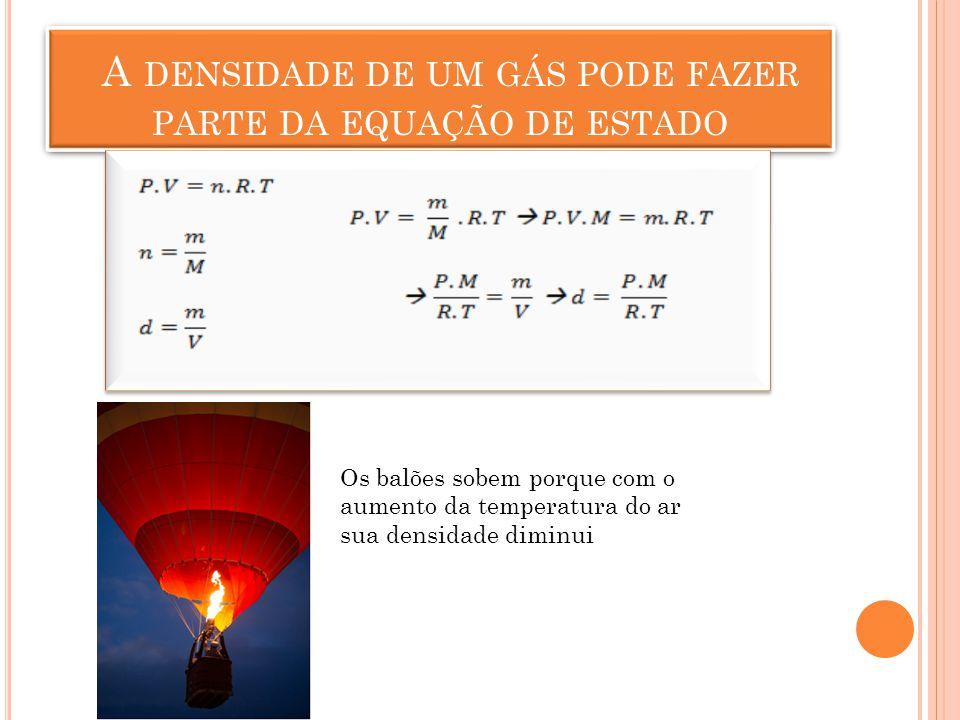 A densidade de um gás pode fazer parte da equação de estado
