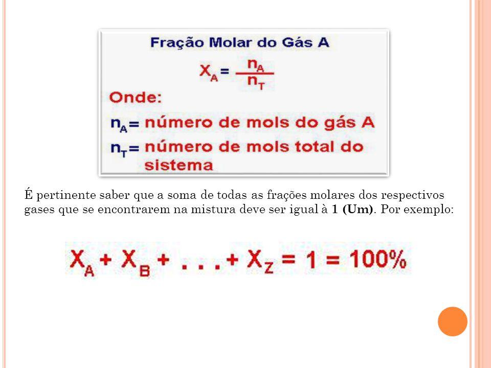 É pertinente saber que a soma de todas as frações molares dos respectivos gases que se encontrarem na mistura deve ser igual à 1 (Um).