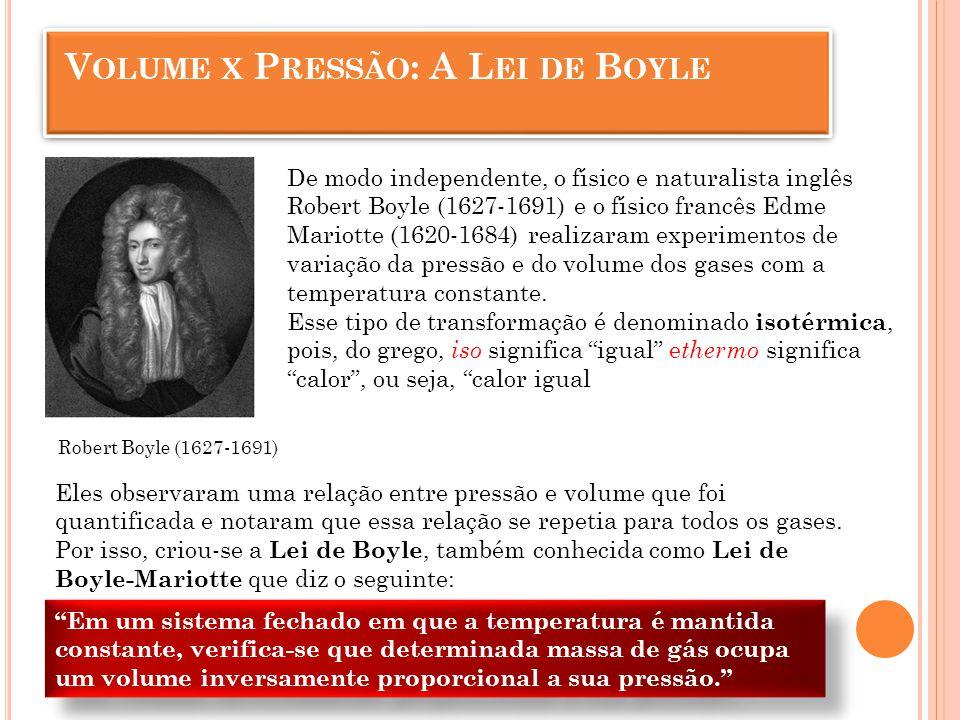 Lei de Boyle sobre a transformação isotérmica Volume x Pressão: A Lei de Boyle