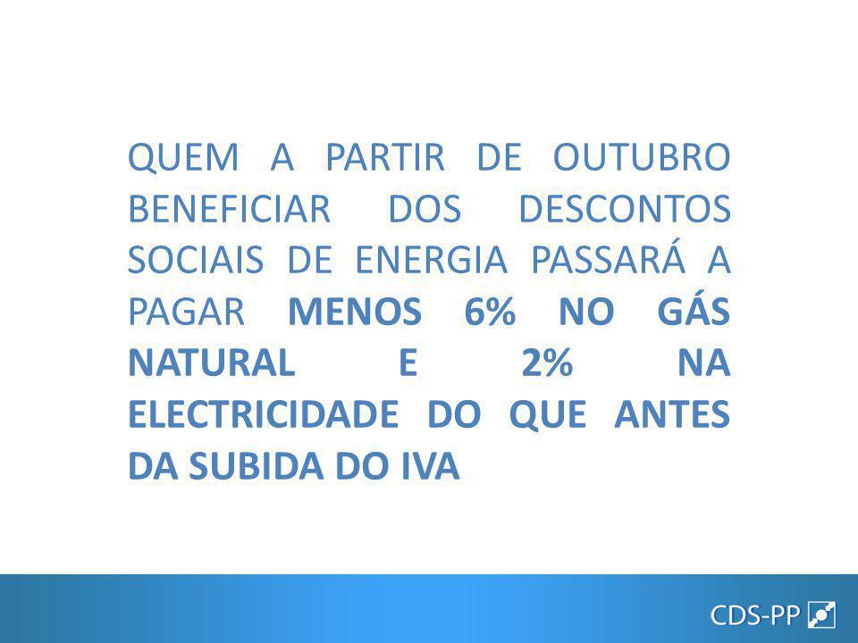 QUEM A PARTIR DE OUTUBRO BENEFICIAR DOS DESCONTOS SOCIAIS DE ENERGIA PASSARÁ A PAGAR MENOS 6% NO GÁS NATURAL E 2% NA ELECTRICIDADE DO QUE ANTES DA SUBIDA DO IVA