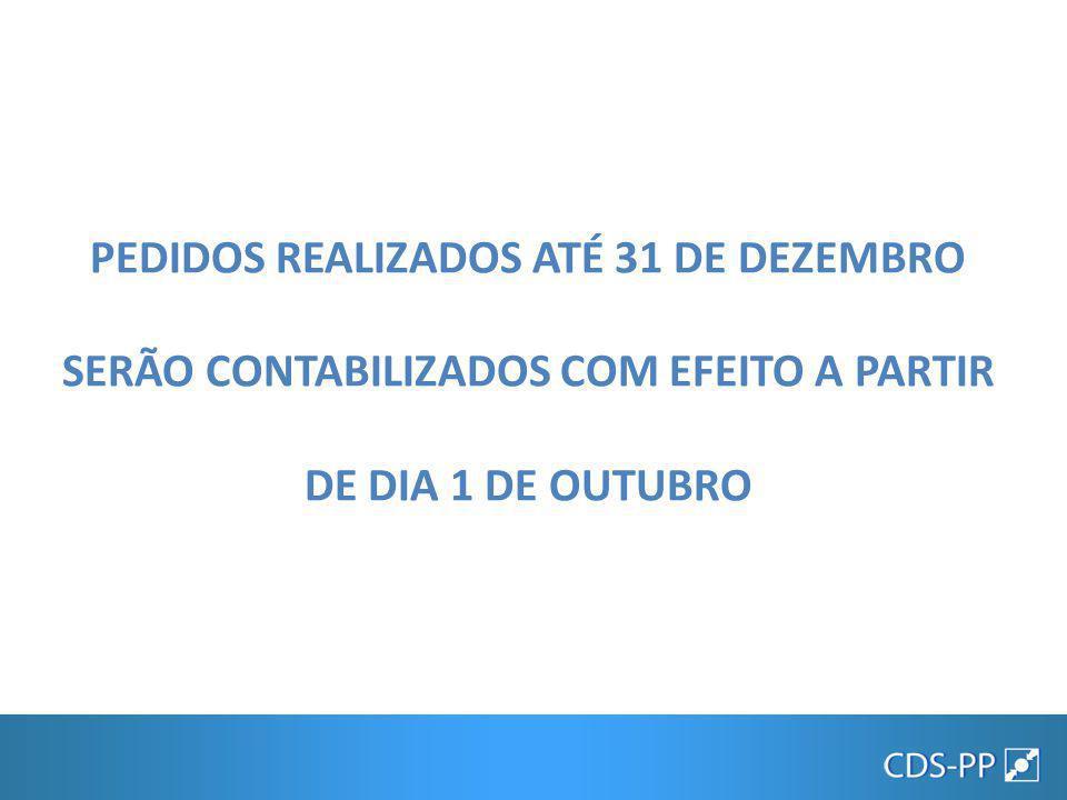 PEDIDOS REALIZADOS ATÉ 31 DE DEZEMBRO SERÃO CONTABILIZADOS COM EFEITO A PARTIR DE DIA 1 DE OUTUBRO