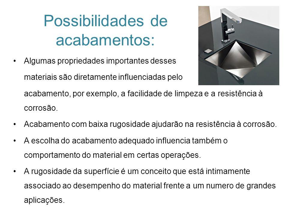 Possibilidades de acabamentos:
