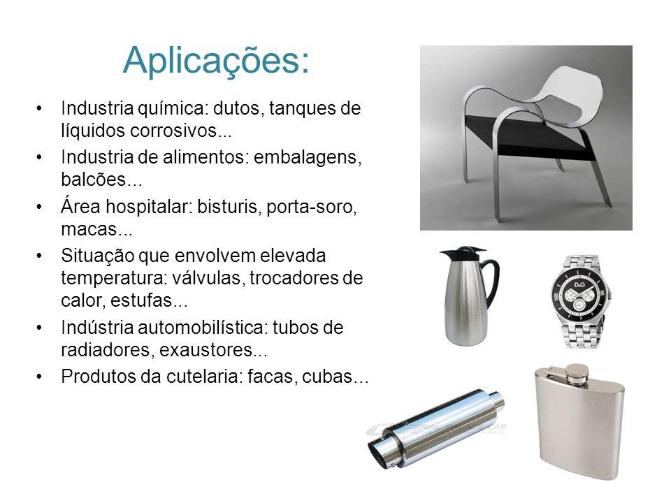 Aplicações: Industria química: dutos, tanques de líquidos corrosivos... Industria de alimentos: embalagens, balcões...