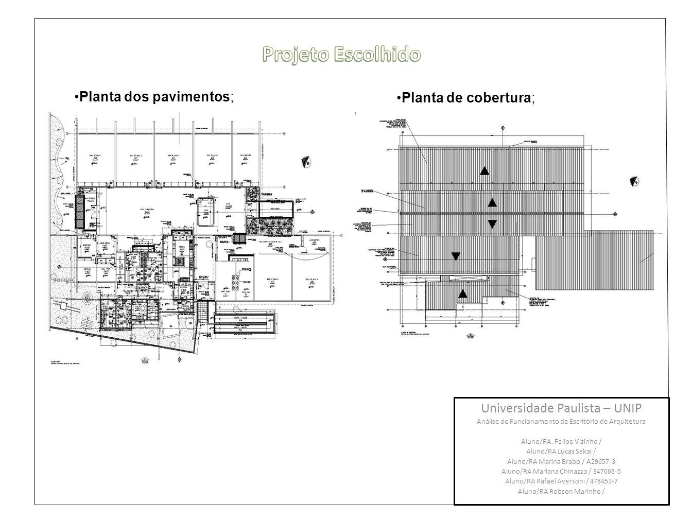 Projeto Escolhido Planta dos pavimentos; Planta de cobertura;
