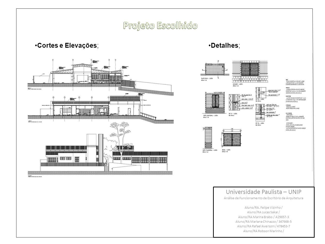 Projeto Escolhido Cortes e Elevações; Detalhes;