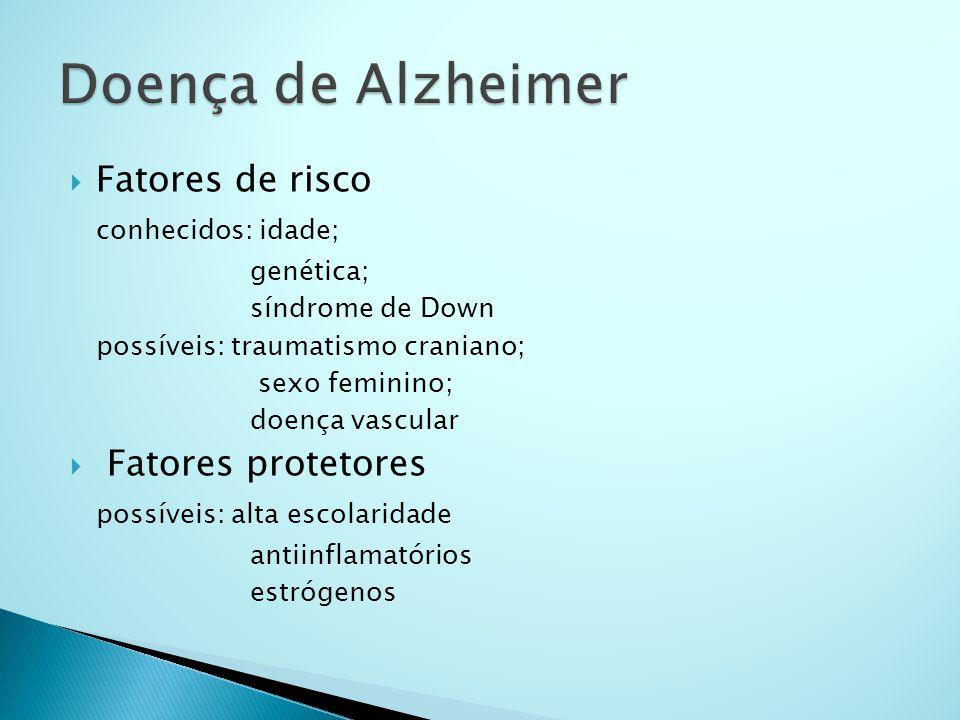 Doença de Alzheimer Fatores de risco conhecidos: idade;