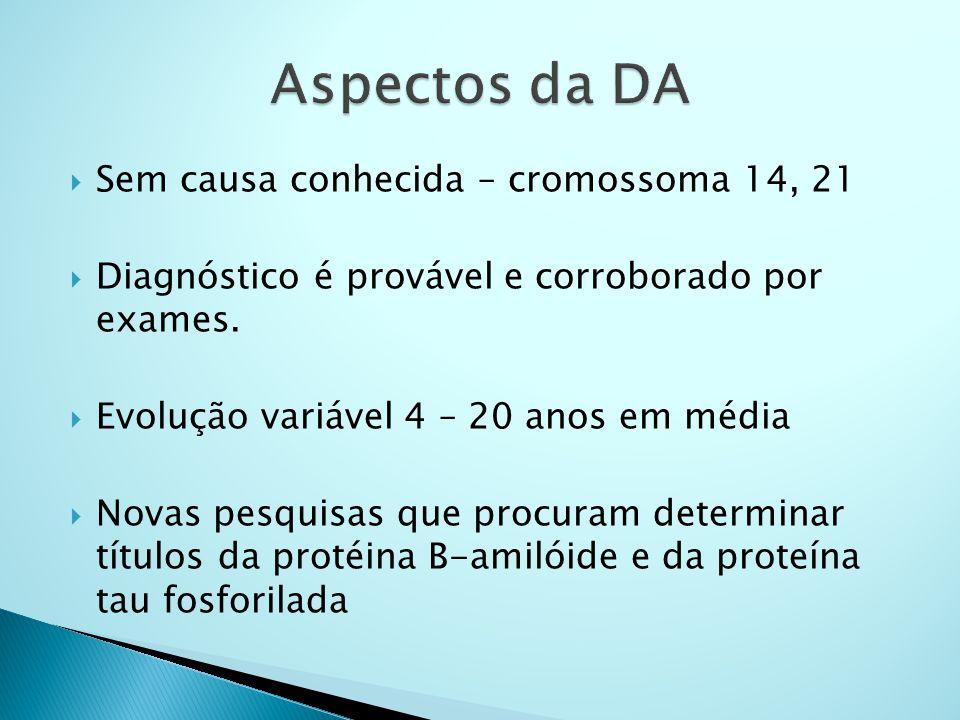 Aspectos da DA Sem causa conhecida – cromossoma 14, 21