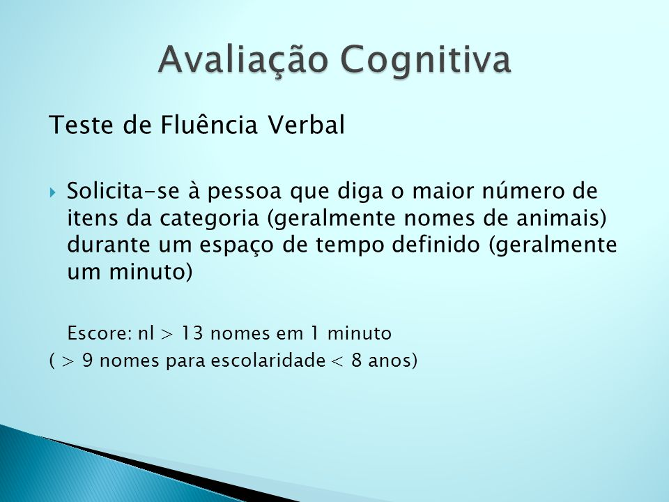 Avaliação Cognitiva Teste de Fluência Verbal