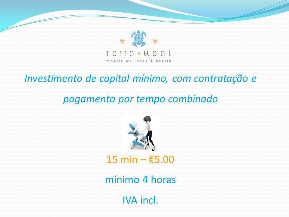 Investimento de capital mínimo, com contratação e pagamento por tempo combinado 15 min – €5.00 mínimo 4 horas IVA incl.
