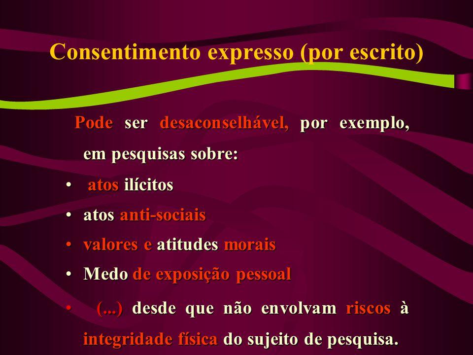 Consentimento expresso (por escrito)