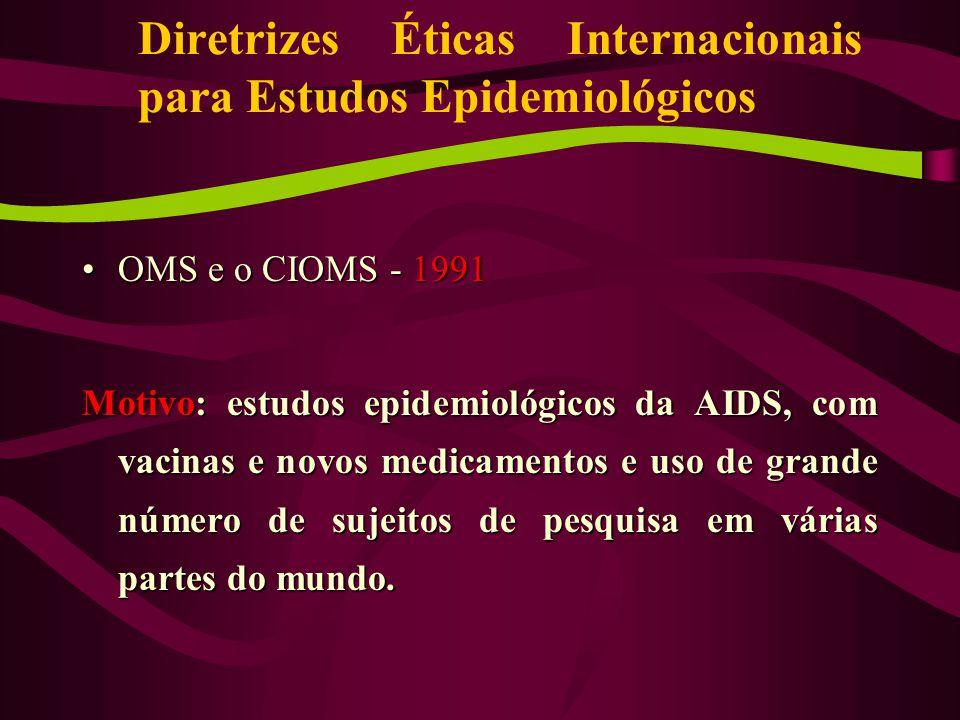 Diretrizes Éticas Internacionais para Estudos Epidemiológicos