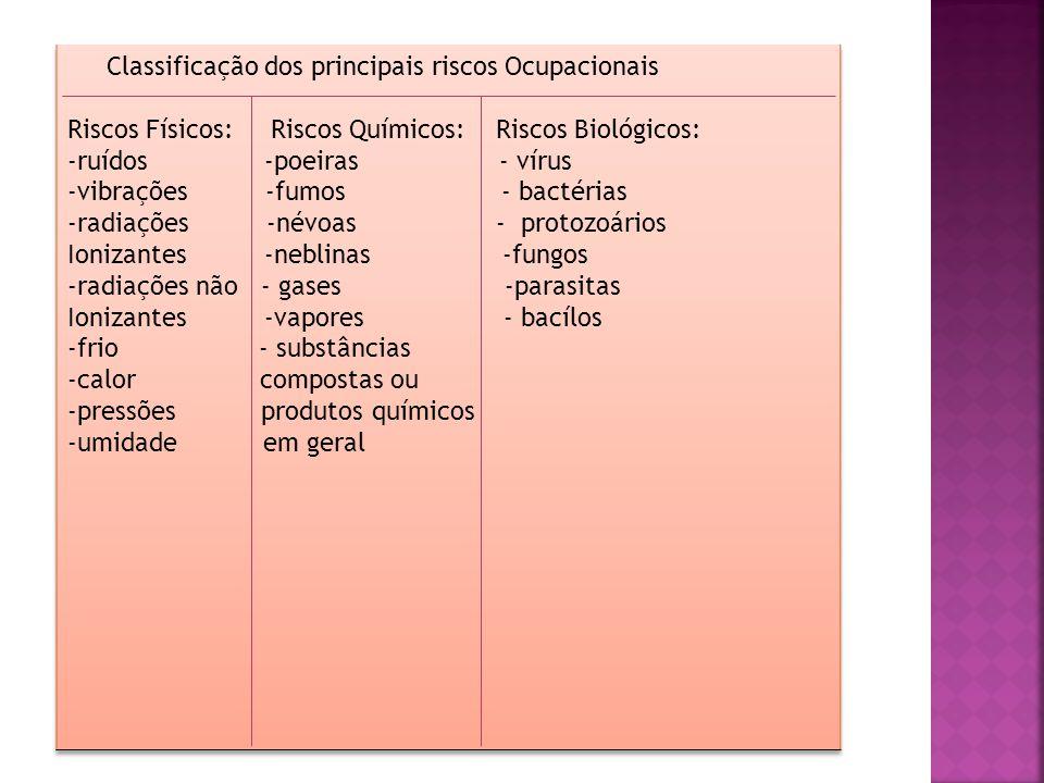 Classificação dos principais riscos Ocupacionais