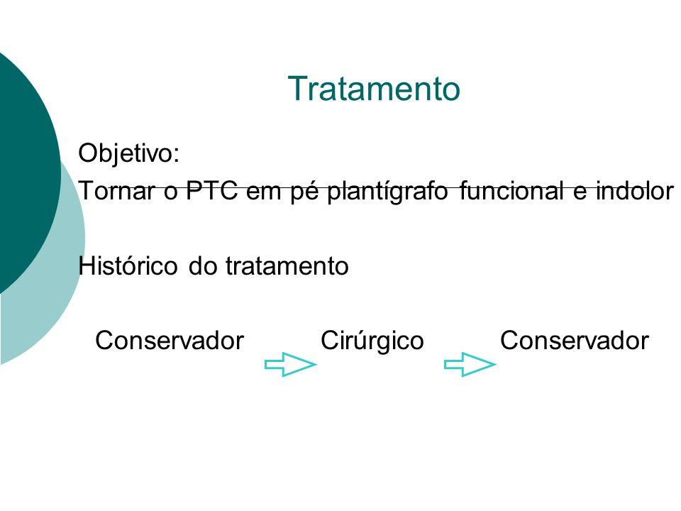 Tratamento Objetivo: Tornar o PTC em pé plantígrafo funcional e indolor. Histórico do tratamento.