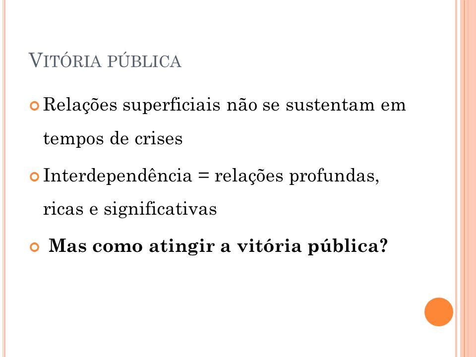 Vitória pública Relações superficiais não se sustentam em tempos de crises. Interdependência = relações profundas, ricas e significativas.
