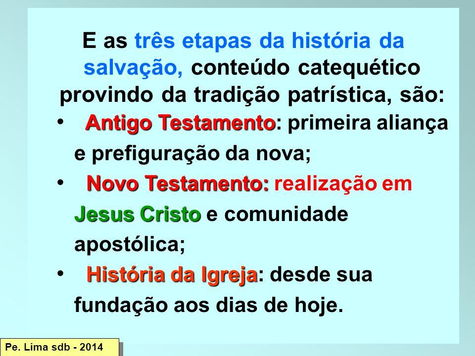 E as três etapas da história da salvação, conteúdo catequético provindo da tradição patrística, são: