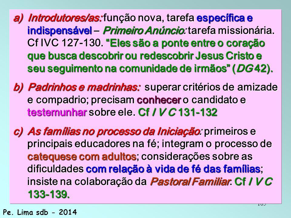 Introdutores/as: função nova, tarefa específica e indispensável – Primeiro Anúncio: tarefa missionária. Cf IVC 127-130. Eles são a ponte entre o coração que busca descobrir ou redescobrir Jesus Cristo e seu seguimento na comunidade de irmãos (DG 42).