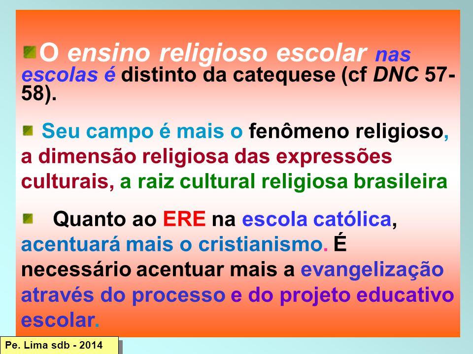 O ensino religioso escolar nas escolas é distinto da catequese (cf DNC 57- 58).