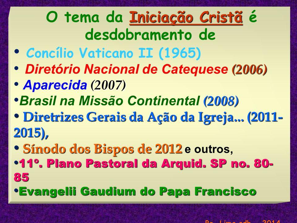 O tema da Iniciação Cristã é desdobramento de