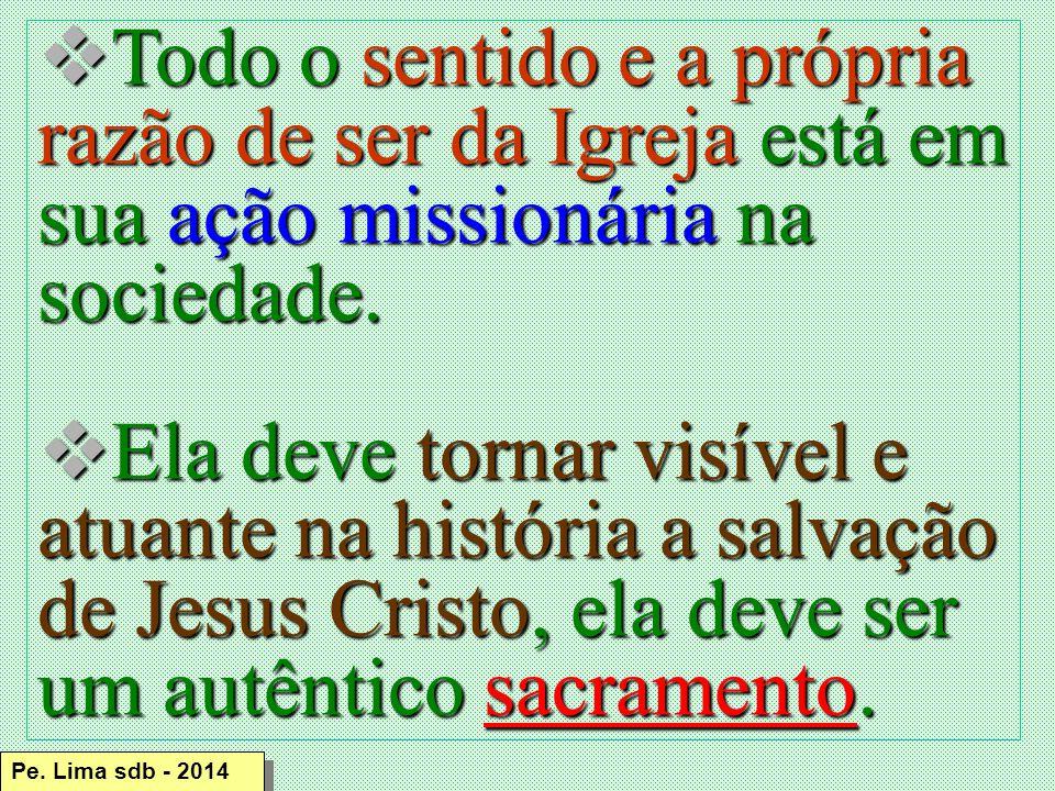 Todo o sentido e a própria razão de ser da Igreja está em sua ação missionária na sociedade.