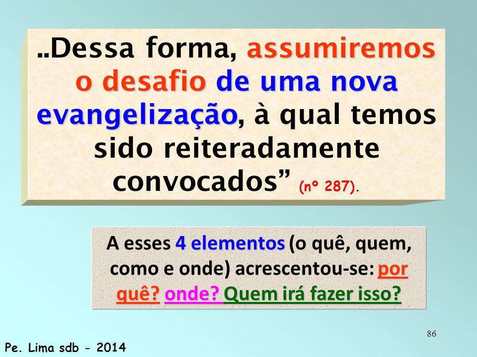 ..Dessa forma, assumiremos o desafio de uma nova evangelização, à qual temos sido reiteradamente convocados (nº 287).