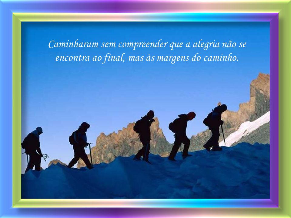 Caminharam sem compreender que a alegria não se encontra ao final, mas às margens do caminho.